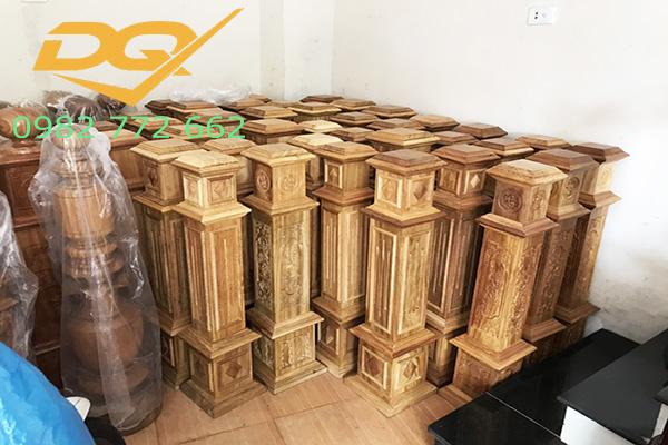Trụ gỗ cầu thang gỗ lim nam phi - Mẫu 28