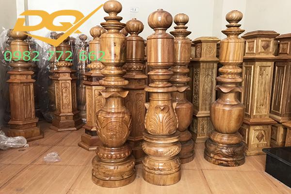 Trụ gỗ cầu thang gỗ lim nam phi - Mẫu 24