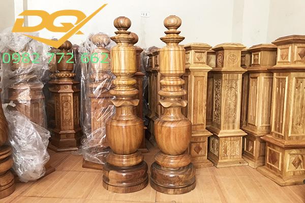 Trụ gỗ cầu thang gỗ lim nam phi - Mẫu 25