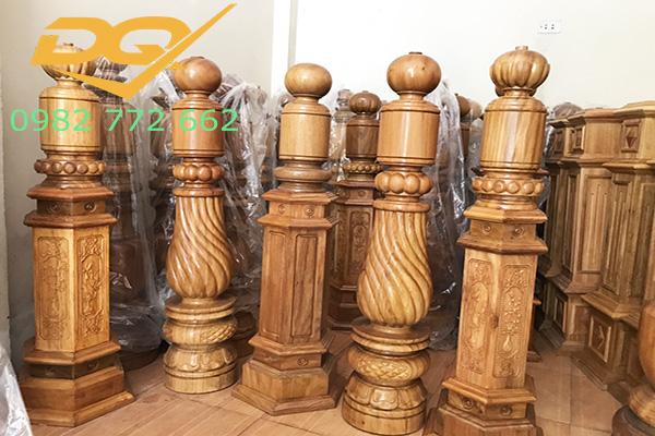 Trụ gỗ cầu thang gỗ lim nam phi - Mẫu 26