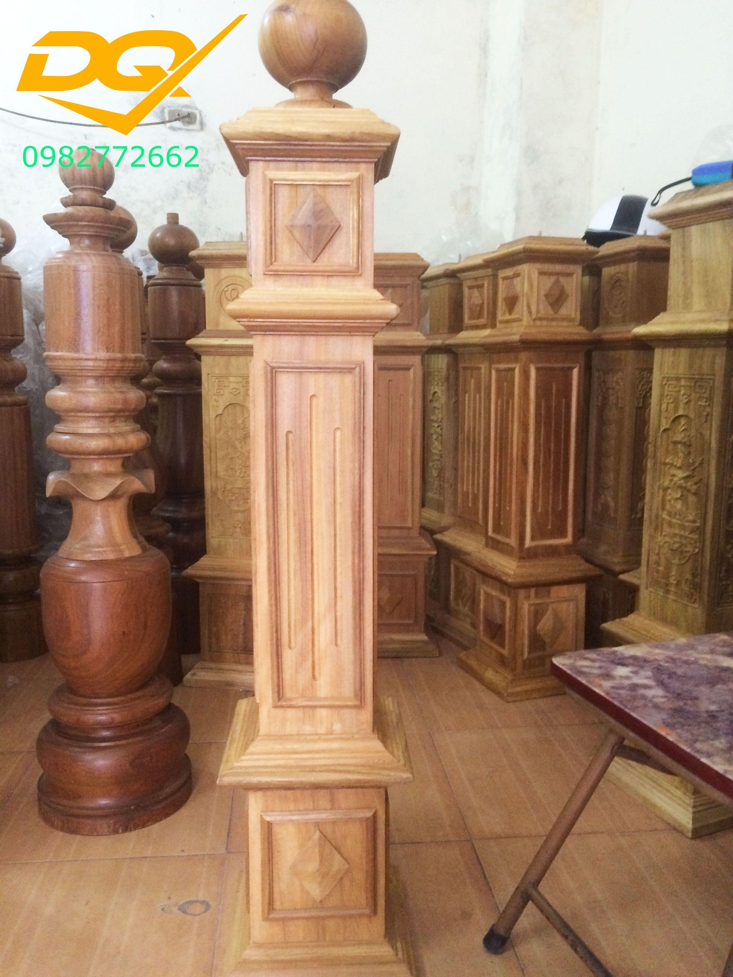 Trụ gỗ cầu thang gỗ lim nam phi - Mẫu 8