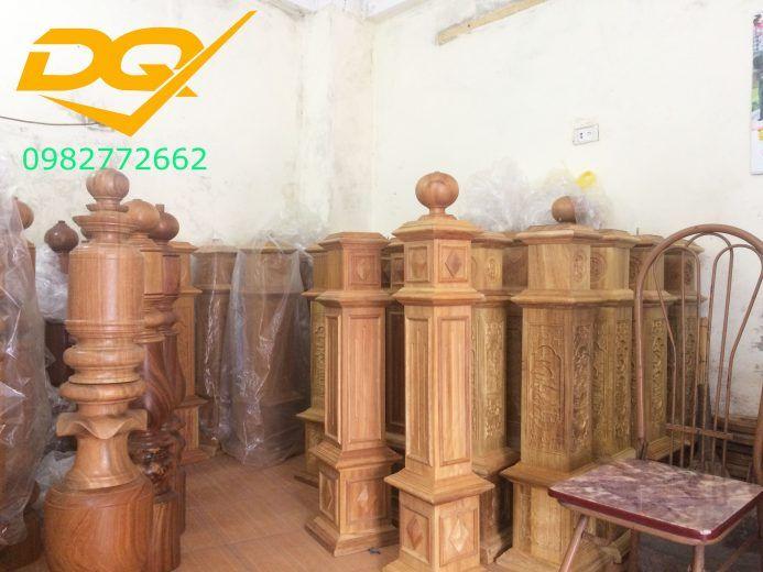 Trụ gỗ cầu thang gỗ lim nam phi - Mẫu 4