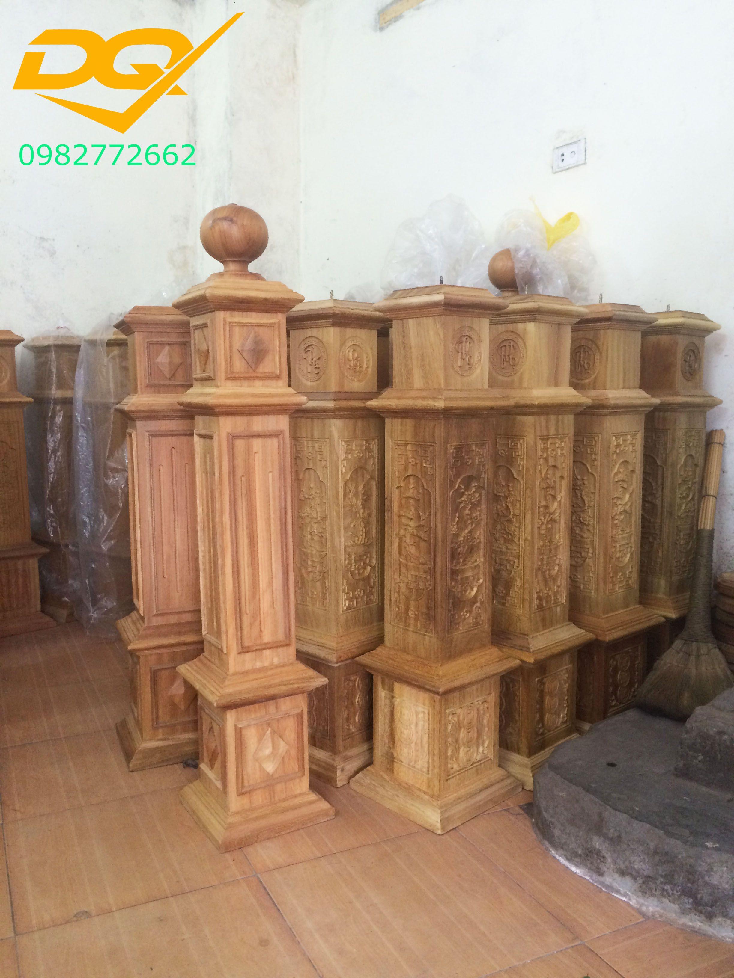 Trụ gỗ cầu thang gỗ lim nam phi - Mẫu 7