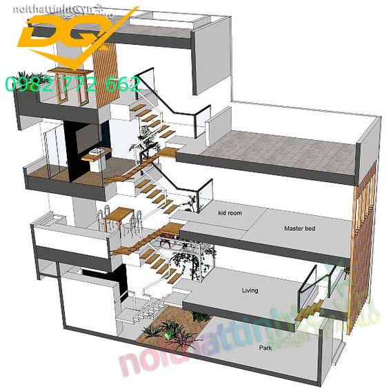 Cầu thang nhà lệch tầng