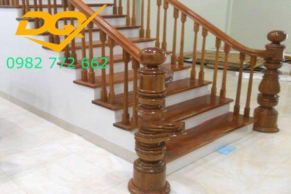 Mẫu cầu thang gỗ song luồn lim nam phi đẹp 2019#6